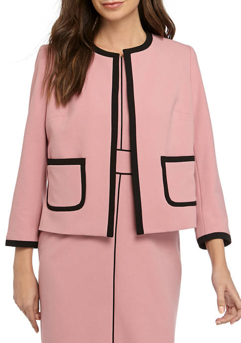 Womens Jewel Neck Crepe Jacket with Piping