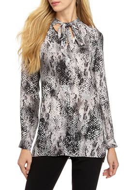 Womens Long Sleeve Crepe Snakeskin Print Blouse