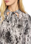 Womens Long Sleeve Crepe Snakeskin Print Blouse