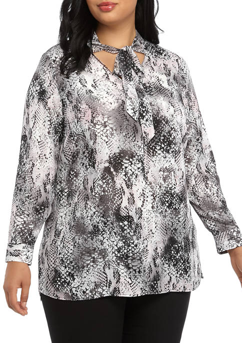 Nine West Plus Size Long Sleeve Printed Crepe