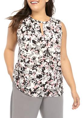 Plus Size Sleeveless High Neck Print Blouse with V Neck