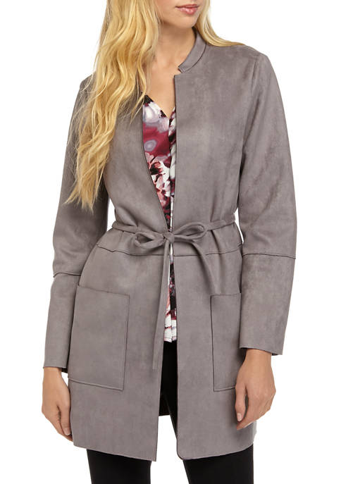Womens Stand Collar Scuba Suede Jacket with Tie Waist