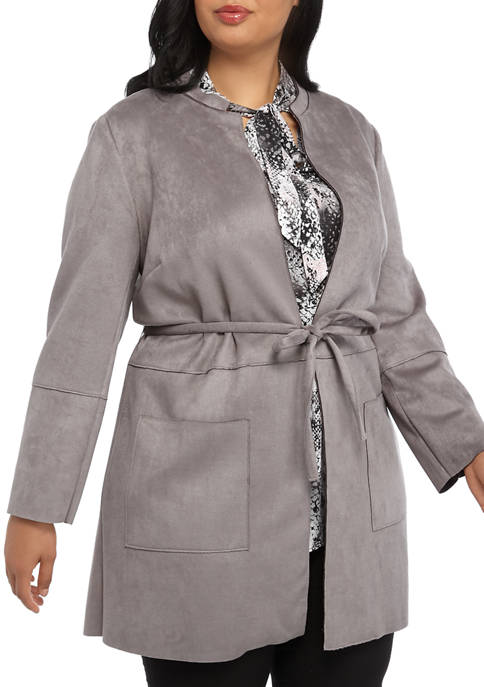 Plus Size Stand Coller Scuba Suede Jacket with Tie Belt