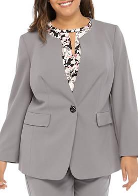 Plus Size 1 Toggle Closure Jewel Neck Jacket