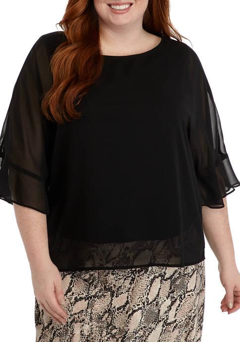 Plus Size Ruffle Dolman Sleeve Chiffon Blouse