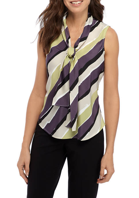 Womens Stripe Tie Neck Blouse
