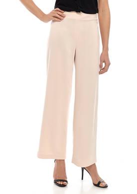 Womens Crepe Wide Leg Pants