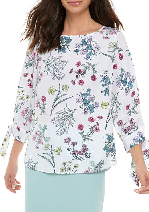 Womens Tie Sleeve Floral Blouse