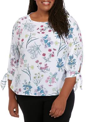 Plus Size Floral Tie Sleeve Blouse