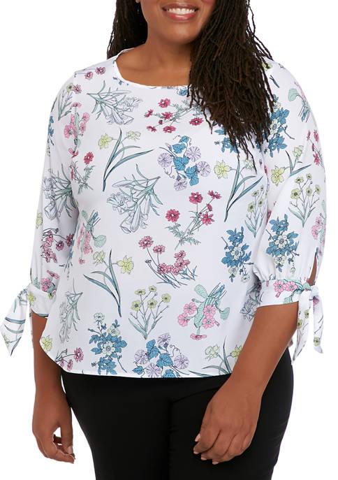 Nine West Plus Size Floral Tie Sleeve Blouse