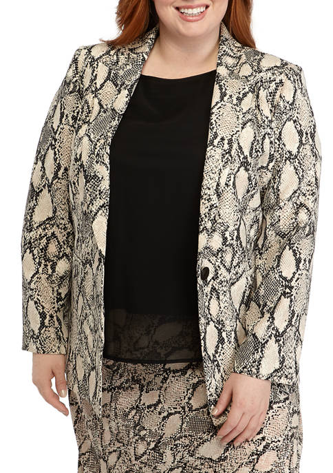 Nine West Plus Size One Button Snake Print
