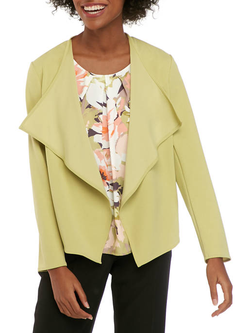 Nine West Womens Drape Front Crepe Jacket