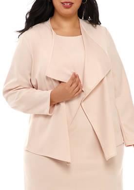 Plus Size Drape Front Crepe Jacket