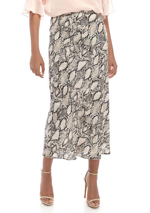 Womens Snake Print Flare Skirt