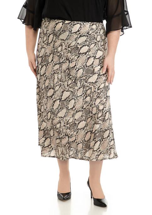 Nine West Plus Size Snake Print Flare Skirt