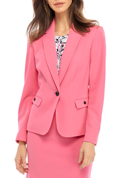 Womens One Button Notch Collar Crepe Jacket