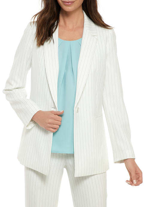 Nine West Womens One Button Pinstripe Jacket