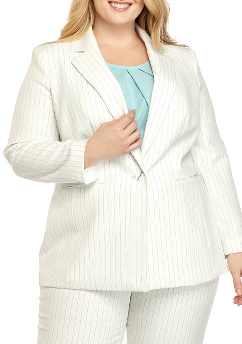 Plus Size Pinstripe Notch Collar Jacket