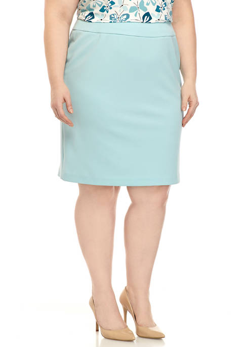 Plus Size Slim Crepe Skirt