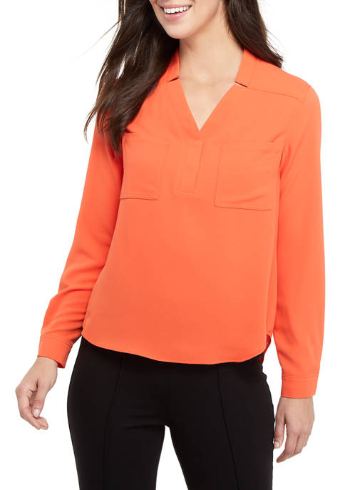 Womens Long Sleeve Blouse with Patch Pockets