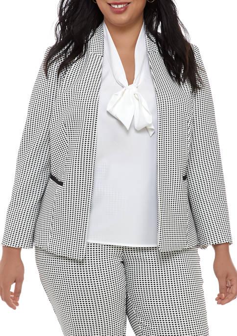 Plus Size Gingham Kissing Front Jacket