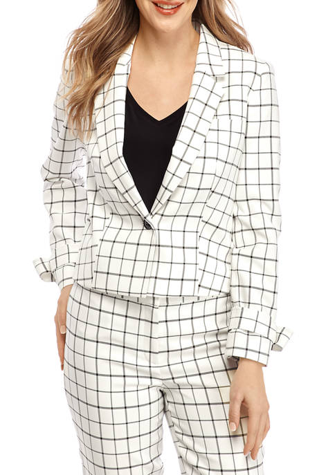 Nine West Womens Plaid Crop Tie Sleeve Jacket