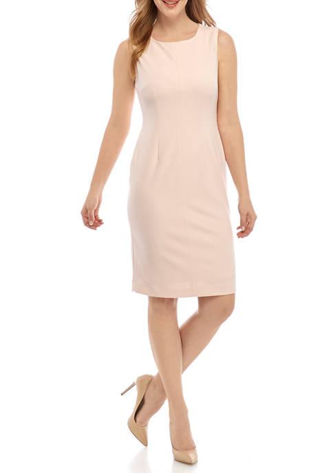 Womens Seamed Crepe Sheath Dress
