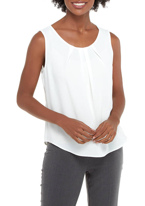 Womens Solid Pleat Neck Blouse
