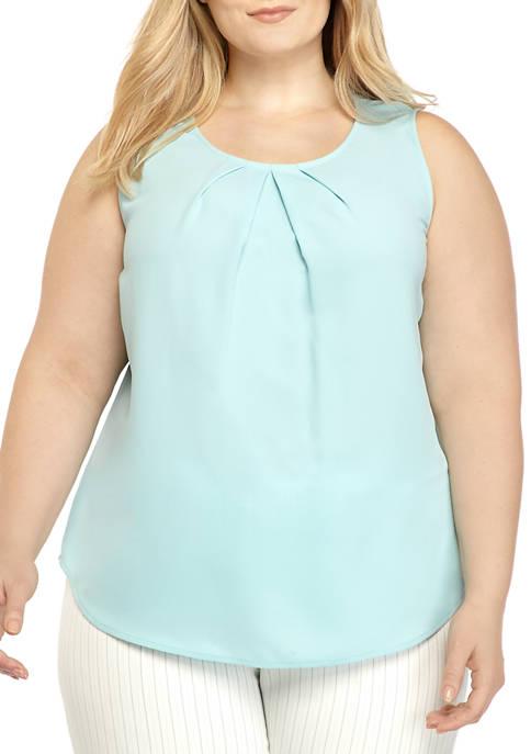 Plus Size Sleeveless Pleat Neck Camisole