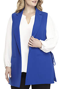 Plus Size Sleeveless Crepe Vest With Bow Detail