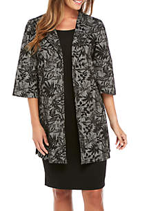 Three-Quarter Sleeve Jacquard Kiss-Front Topper