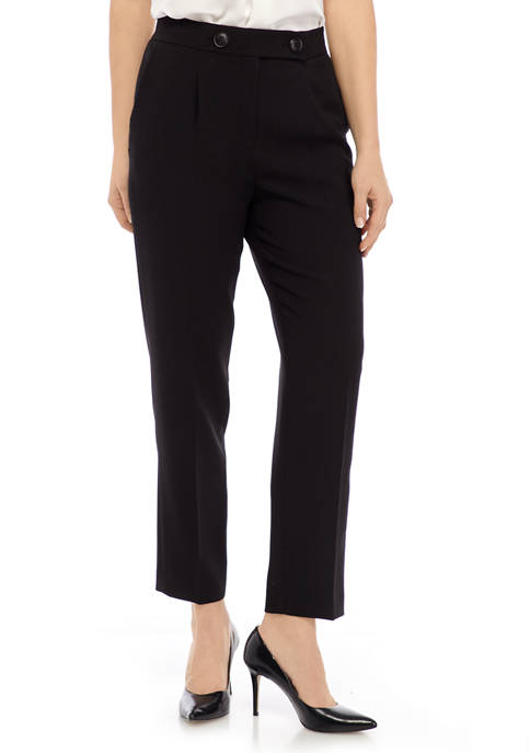 Nine West Womens Button Detail Crepe Pants