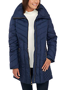 Mid-Length Jacket with Quilted Collar