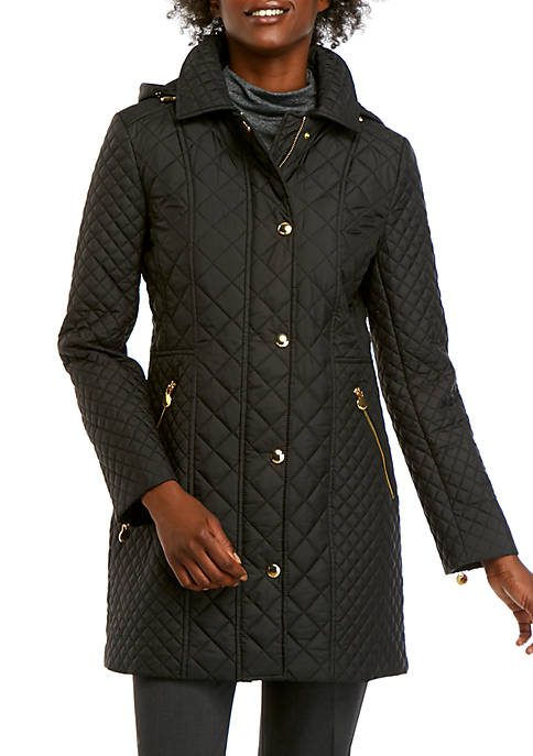 Anne Klein Hooded Zip Front Quilted Raincoat