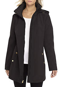 Soft Shell Quilted Collar Jacket with Hood