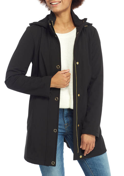 Anne Klein Womens Button Front Hooded Softshell Raincoat