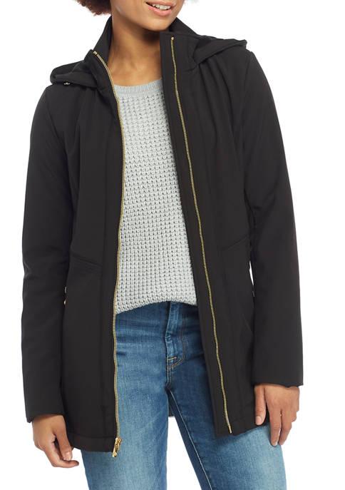 Anne Klein Womens Zip Front Hooded Softshell Raincoat