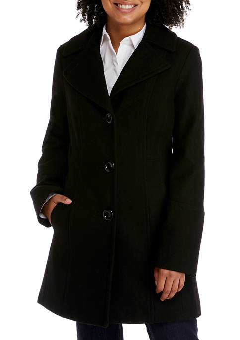 Anne Klein Womens Double Breasted Wool Coat