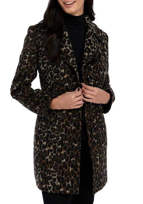 Anne Klein Womens Mid Length Leopard Print Wool