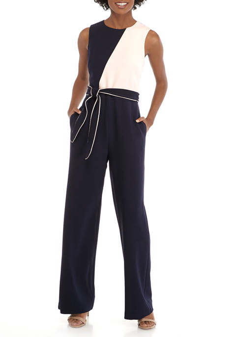 Womens Sleeveless Color Block Jumpsuit with Piping