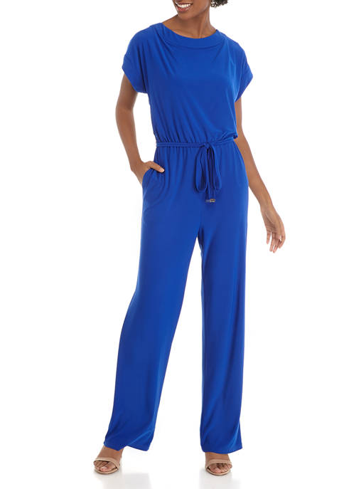 Womens Short Sleeve Belted Jumpsuit