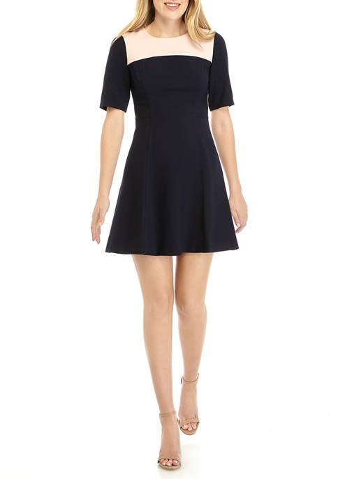 Womens Short Sleeve Color Block Crepe Dress
