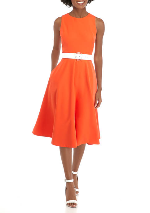 Womens Sleeveless Scuba Midi Fit and Flare Dress with Belt