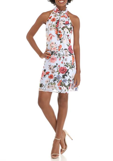Womens Halter Neck Floral Print Chiffon Dress