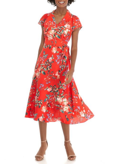 Womens Puff Sleeve Floral Midi Wrap Dress