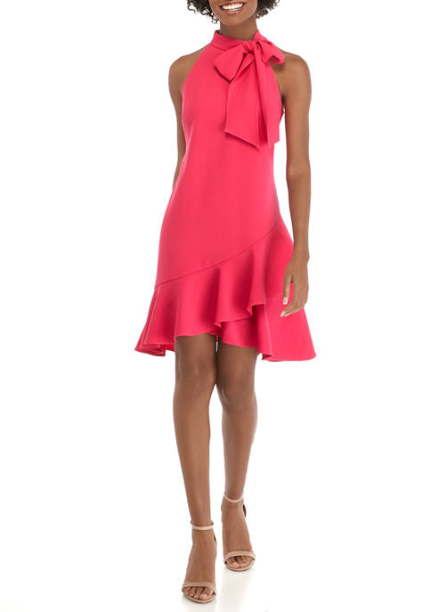 Womens Halter Neck Bow Crepe Dress with Ruffle Hem