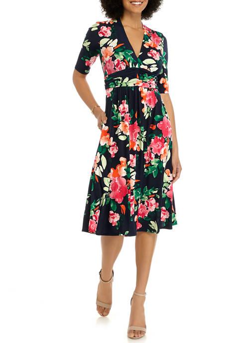 Womens Elbow Sleeve Shirred Waist Midi Dress