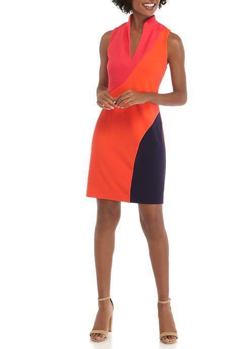 Womens Textured Knit Color Block Sheath Dress