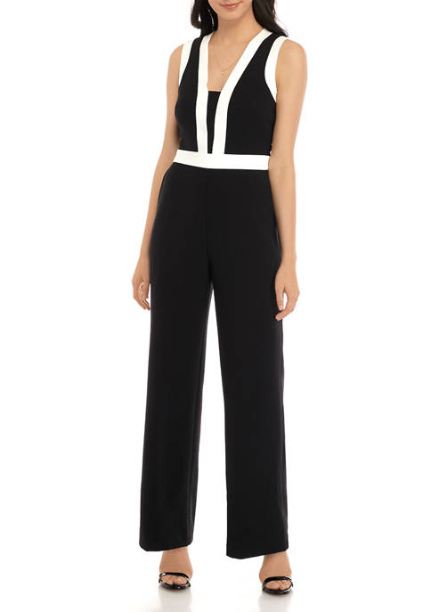 Womens Sleeveless Color Block Crepe Jumpsuit