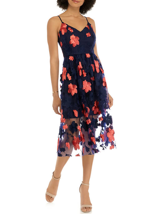 Womens Sleeveless Embroidered Mesh Midi Dress